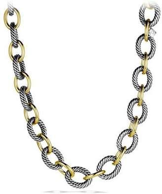 "David Yurman XL Sterling Silver & 18K Gold Link Necklace, 18.5"""