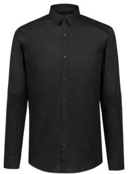 HUGO Boss Extra-slim-fit stretch-cotton shirt ribbed elbows L Black