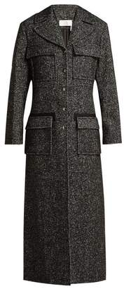 Chloé Tweed Wool Blend Single Breasted Coat - Womens - Grey