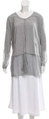 Fabiana Filippi Metallic Button-Up Cardigan Grey Metallic Button-Up Cardigan