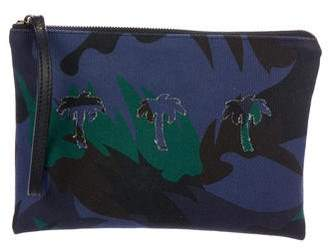 Tomas Maier Leather-Trimmed Camouflage Palm Clutch