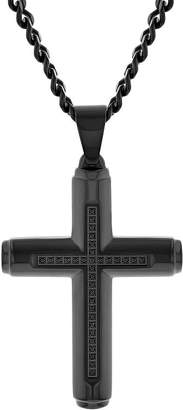 Black Diamond FINE JEWELRY Mens 1/7 CT. T.W. Genuine Stainless Steel Cross Pendant