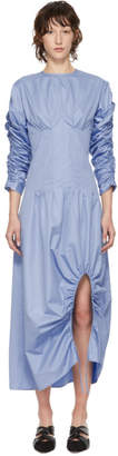 Markoo SSENSE Exclusive Blue The Ruched Slit Dress