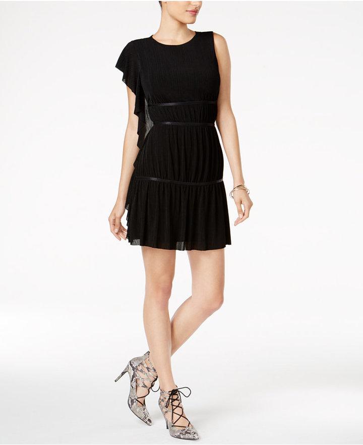 Guess Tyra Asymmetrical-Sleeve Tiered Dress