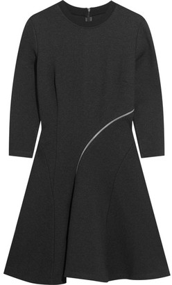 McQ Alexander McQueen - Zip-detailed Stretch-jersey Mini Dress - Dark gray $450 thestylecure.com