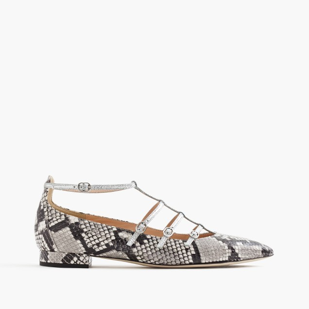 J.Crew Caged flats in snakeskin-printed leather