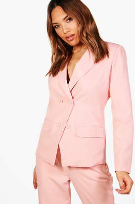 boohoo Erin Double Breasted Woven Suit Blazer