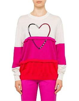 Paul Smith L/S Colour Block Fringe Heart Knit