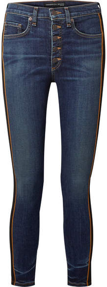 Veronica Beard - Debbie Grosgrain-trimmed Cropped High-rise Skinny Jeans - Dark denim