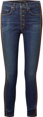 Veronica Beard Debbie Grosgrain-trimmed Cropped High-rise Skinny Jeans - Dark denim