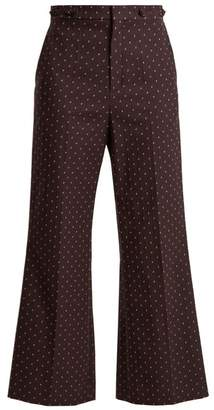 Chloé Embroidered Dot Cotton Trousers - Womens - Purple Multi