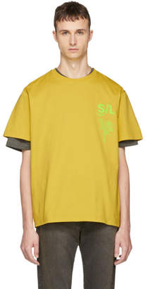 Second/Layer Yellow Shattered Logo T-Shirt