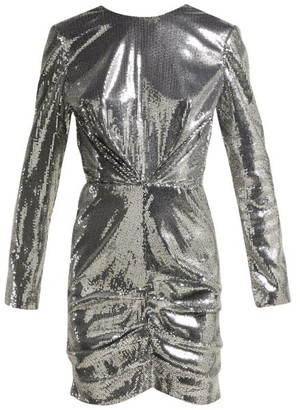 MSGM Sequin Ruched Mini Dress - Womens - Silver