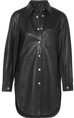 Maje Leather Shirt - Black