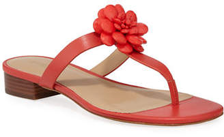 MICHAEL Michael Kors Dalia Leather T-Strap Flower Sandals