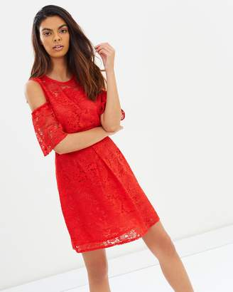 Miss Selfridge Lace Flippy Cold Shoulder Dress