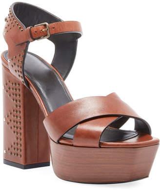 Saint Laurent Farrah Studded Leather Platform Sandal