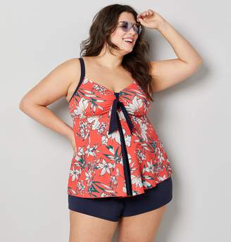 5f649c919 Avenue Plus Size Tropical Floral Flyaway Tankini Top With Tummy Control