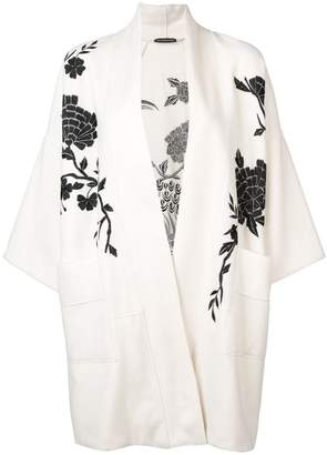 Josie Natori Peacock embroidered felted coat