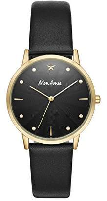 Mon Amie Women's Black Leather Watch - Supports Education CBMA1002