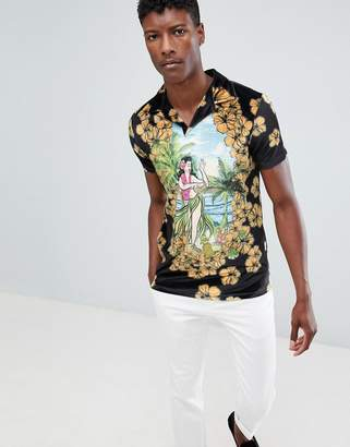 Asos DESIGN polo with all over hula girl print in velour with revere collar
