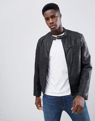 Esprit Faux Leather Jacket With Biker Collar