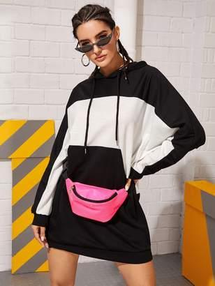 Shein Color-Block Drawstring Hooded Sweatshirt Dress Without Bag