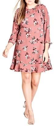 City Chic Floral Ruffle Trim Dress