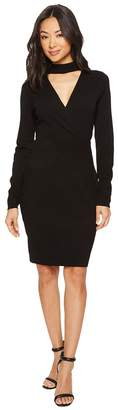 Vince Camuto Long Sleeve Choker Neck Wrap Front Sweater Dress Women's Dress