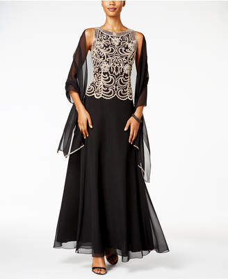 J Kara Beaded A-Line Gown and Scarf $219 thestylecure.com