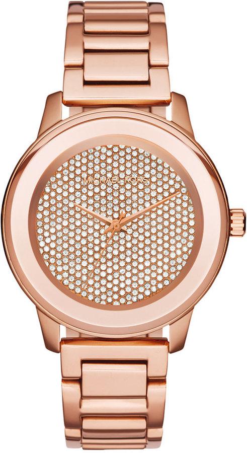 MICHAEL Michael KorsMichael Kors Women's Kinley Rose Gold-Tone Stainless Steel Bracelet Watch 42mm MK6210