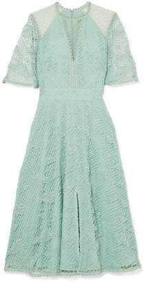 Temperley London Haze Guipure Lace And Tulle Dress Mint