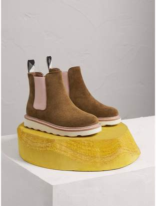 Burberry Two-tone Suede Chelsea Boots