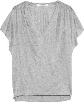 Halston Shirred Mélange Jersey T-Shirt
