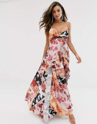 786e9b31e6 Asos Design DESIGN Strappy pleated maxi dress with ruffle pleat detail in  floral