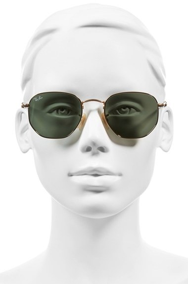 Women's Ray-Ban 51Mm Hexagonal Flat Lens Sunglasses - Metal Gold/ Green 2