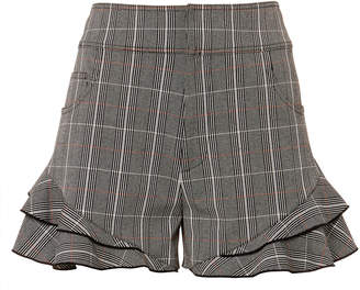Derek Lam 10 Crosby Plaid Ruffle Hem Shorts