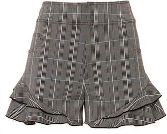 Derek Lam 10 Crosby Plaid Ruffle Hem Shorts