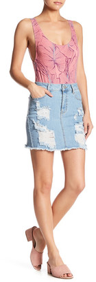 Fire Distressed Denim Skirt $52 thestylecure.com