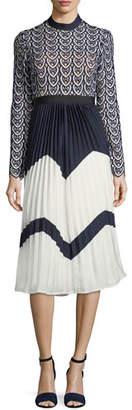 Self-Portrait Sweetheart Long-Sleeve Crochet-Lace Midi Dress