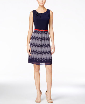 Connected Sleeveless Belted Chevron Striped Dress $69 thestylecure.com