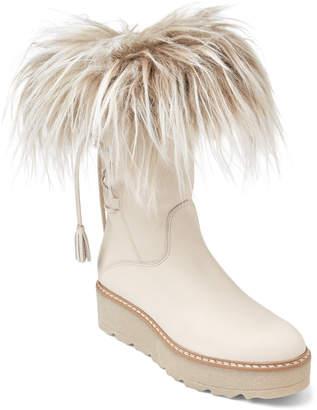BEIGE Elena & Ivory Fur-Trimmed Lace-Back Boots