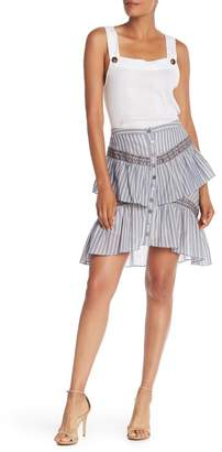 BCBGMAXAZRIA Striped Ruffle Sleeveless Top