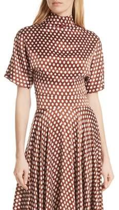 Diane von Furstenberg Polka Dot High Neck Crop Silk Blouse