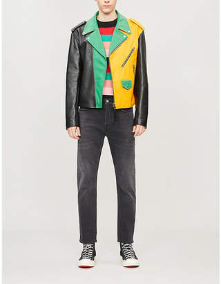 Colour-blocked leather biker jacket
