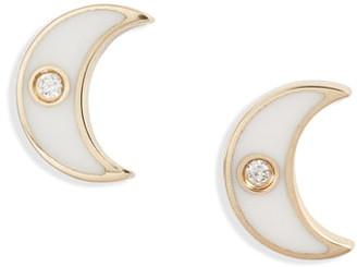 Ef Collection Enamel Diamond Moon Stud Earrings