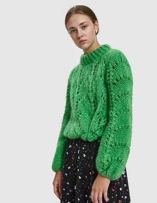 Ganni Julliard Mohair Open Knit Sweater in Classic Green