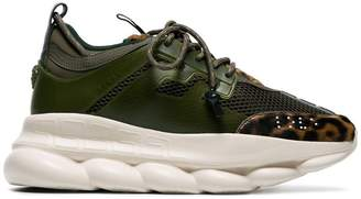 Versace khaki green Chain Reaction leopard print low-top leather sneakers
