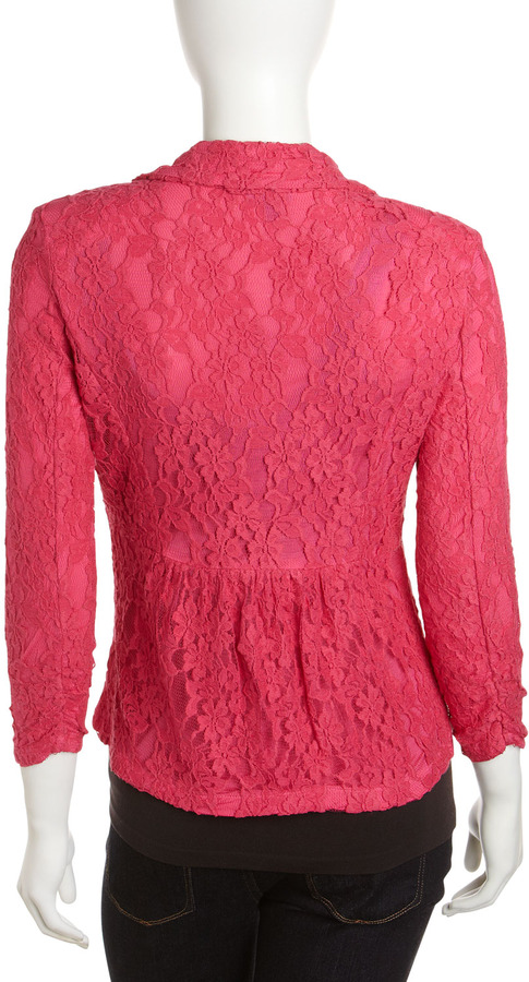 Neiman Marcus Lace One-Button Blazer, Pink Me Up
