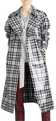 Burberry Eastheath Plaid Coated Wool Trench Coat